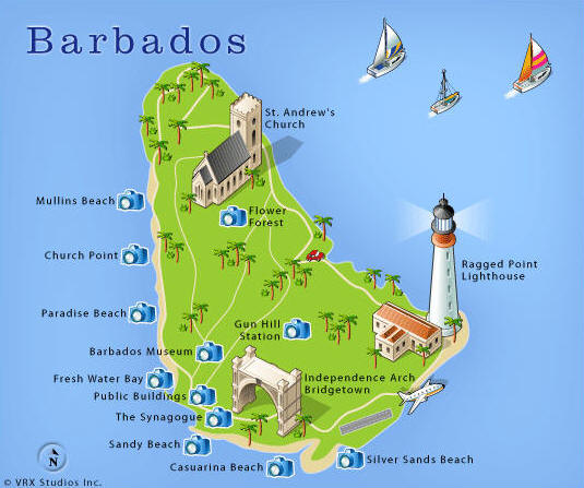 Barbados - Tourist map of barbados
