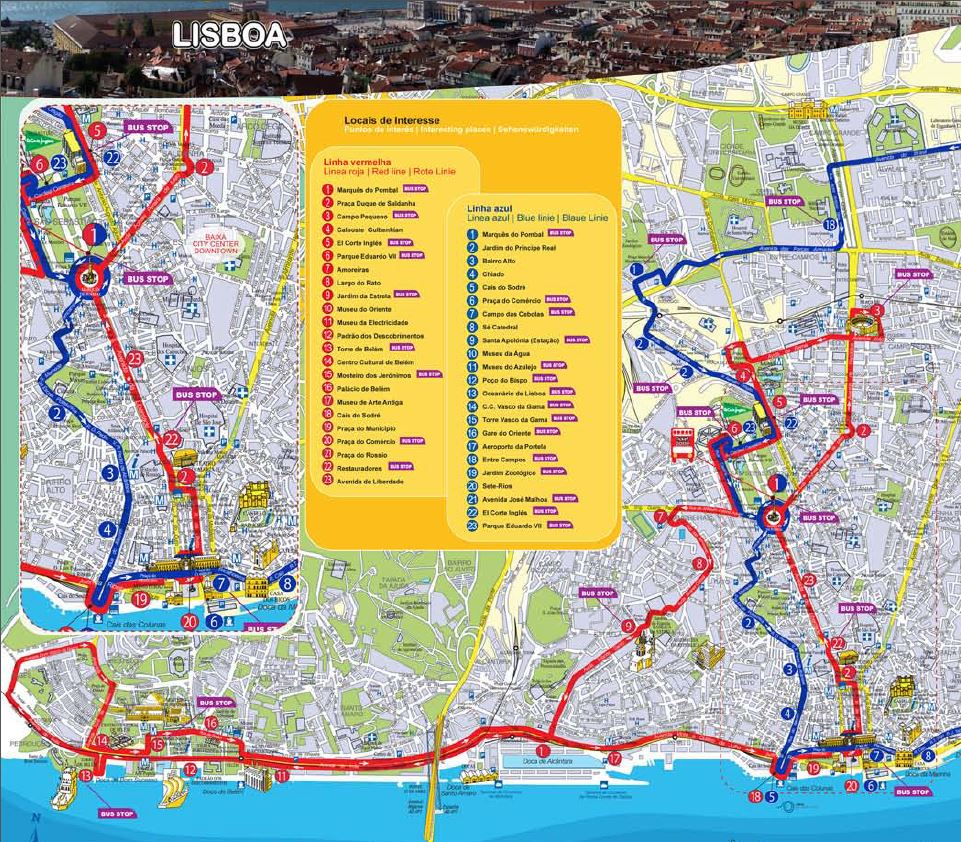 New – Lisbon Tourist Attractions Map