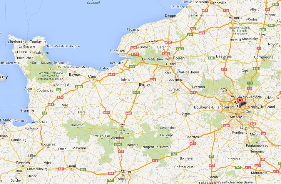 DDay - France driving distances map